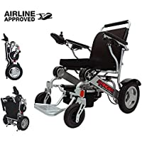 """Porto Mobility Ranger D09 Exclusive Portable Power Wheelchair, Lightweight only 50 LBS, Foldable, Heavy Duty, Dual Battery, Dual Motor Electric Wheelchair - 18.5"""" Seat Width - Free Travel Cover Case (Black)"""