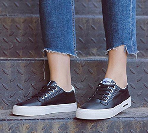 Zapatillas De Deporte Con Cordones De Las Mujeres Planas De La Comodidad Ocasional De La Punta Redonda De Aisun Low Up Zapatillas De Skate Negro
