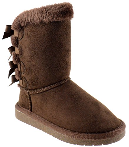 Forever Link Ann 34K Little Girls Shearling Bow Tie Fur Boots Brown 1 -
