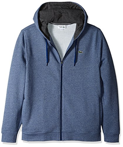Lacoste Men's Full Zip Hoodie Fleece Sweatshirt, Marino Jaspe/Pitch, 4X-Large