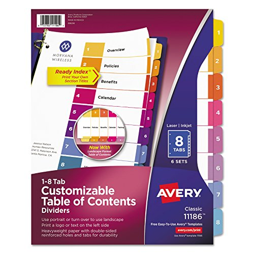 Avery Ready Index Table of Contents Dividers, 8-Tab Set, 6 Sets (Avery Divider Tabs)