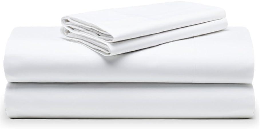 The White Basics - Cadaqués - Juego de sabanas Blancas Percal 200 Hilos 100% Algodon Peinado Cama Doble 200x200 cm: Amazon.es: Hogar