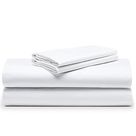 The White Basics - Cadaques - Juego de sabanas Blancas Percal 200 Hilos 100% Algodon Peinado Cama 180x200 cm