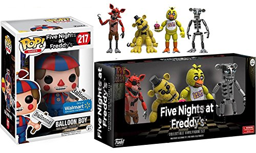 "Five Nights at Freddy's Character Pack Exclusive Vinyl Pop! Balloon Boy #217 & Five Nights at Freddy's Action Figures 2"" 4-pk Chica / Foxy / Golden Freddy & Animatronic Skeleton"