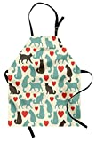Lunarable Cat Apron, Pattern with Cats Hearts Happy Walking Shape Kitty Domestic Animal Pets, Unisex Kitchen Bib Apron with Adjustable Neck for Cooking Baking Gardening, Turquoise Red Dark Taupe