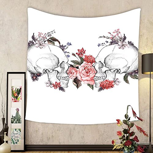 Gzhihine Custom tapestry Ambesonne Gothic Decor Collection Roses and Skull Feast of All Saints Catholic Tradition Illustration Art Print Bedroom Living Room Dorm Tapestry Coral Lilac White by Gzhihine
