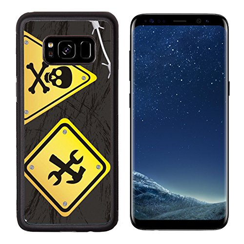 MSD Premium Samsung Galaxy S8 Aluminum Backplate Bumper Snap Case IMAGE ID: 15068249 construction yellow sign with barbed wire over black background
