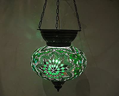 L green moroccan lantern mosaic hanging lamp glass chandelier light turkish candle holder m 55