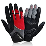 4UMOR Cycling Gloves Full Finger Gel Padded for Mountain Bike Road Riding Touch Screen Gloves, For Men and Women (Medium)