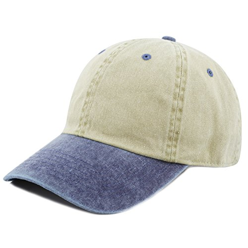 (The Hat Depot Cotton Pigment Dyed Low Profile Six Panel Cap (Khaki Navy))