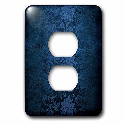 3dRose Anne Marie Baugh - Patterns - Blue Distressed Floral - Light Switch Covers - 2 plug outlet cover - Cover Outlet Floral