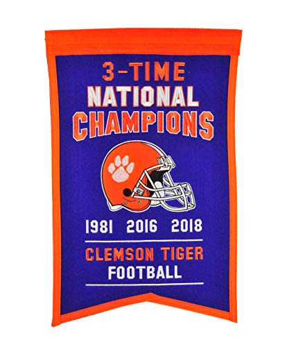 Winning Streak Clemson Tigers 3 Time National Champions Football (1981,2016,2018) 14x21 - Champions National Football