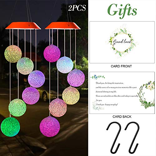 Wind Chimes Outdoor,Solar Color Changing LED Light Lamp Six Balls Mobile Romantic Wind-Bell for Home, Party, Festival Decor, Night Patio Yard Garden Decoration(Crystal Ball) 2 PCS