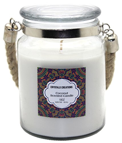 - Crystalo Creations Coconut Scented Candle with Rope Handle, 18 Ounce