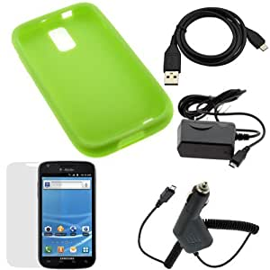 GTMax Green Soft Silicone Case + Car Charger + Home Charger + USB Sync Data Cable + LCD Screen Protector for Samsung Hercules SGH-T989