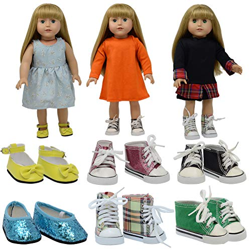 Designer Doll Shoes - The New York Doll Collection D360 6 Pairs of Doll Shoes Fits 18