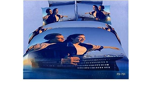 gjqcd Titanic Pure Cutton juego de ropa de impresión suave edredón de cama 3d pintura al óleo 4 piezas: Amazon.es: Hogar