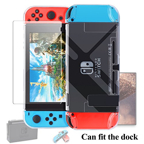 Dockable Case for Nintendo Switch [Updated],FYOUNG Protective Accessories Cover Case for Nintendo Switch and Nintendo Switch Joy-Con Controller with a Tempered Glass Screen Protector - Clear