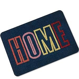 bhoming (TM) Lovely Welcome Felpudo de fibra de coco con Scroll Border | 16x 24inch | estándar Welcome color negro mate con borde decorativo | Natural Decoloración | vinilo respaldado | al aire libre