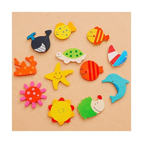 CraftDev Colored Wooden Cartoon or Nature Theme Magnets - Set of 40