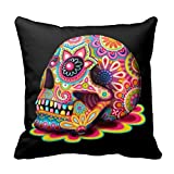 """Generic Custom Colorful Sugar Skull Pillowcase 16 x 16 - Day of the Dead Art 16"""" x 16""""(Twin Sides)"""