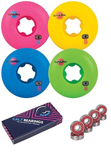 内陸グラフ泥だらけRictaスケートボードWheel 52 mm Sparx 101 A Mix Upカラー4パックCal 7軸受コンボ
