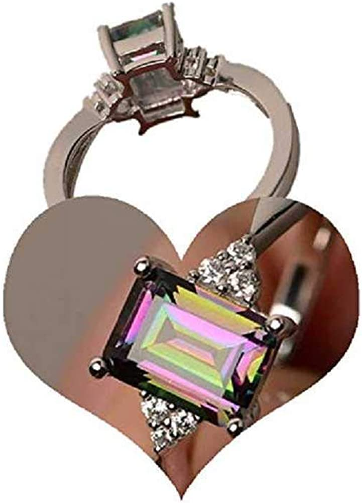 WSSVAN Anillo de Venta de Relámpagos, Princesa Colorida Ppiedra Cuadrada Anillo de Diamantes Inlay Arco Iris Anillo de Piedra Preciosa Ornamento Arco Iris Anillo de Compromiso Anllo