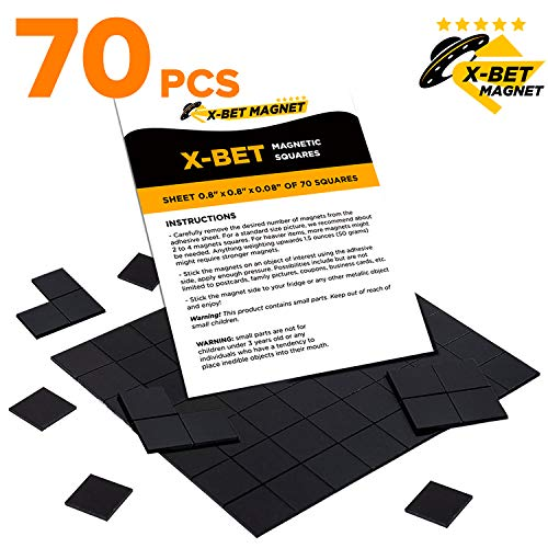 Magnetic Squares - 1 Tape Flexible Magnetic Sheet of 70 Self Adhesive Magnetic Squares (Each 4/5