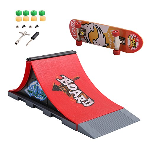 Feamos Finger Skateboard with Skate Park Ramp Parts for Tech Deck (A)