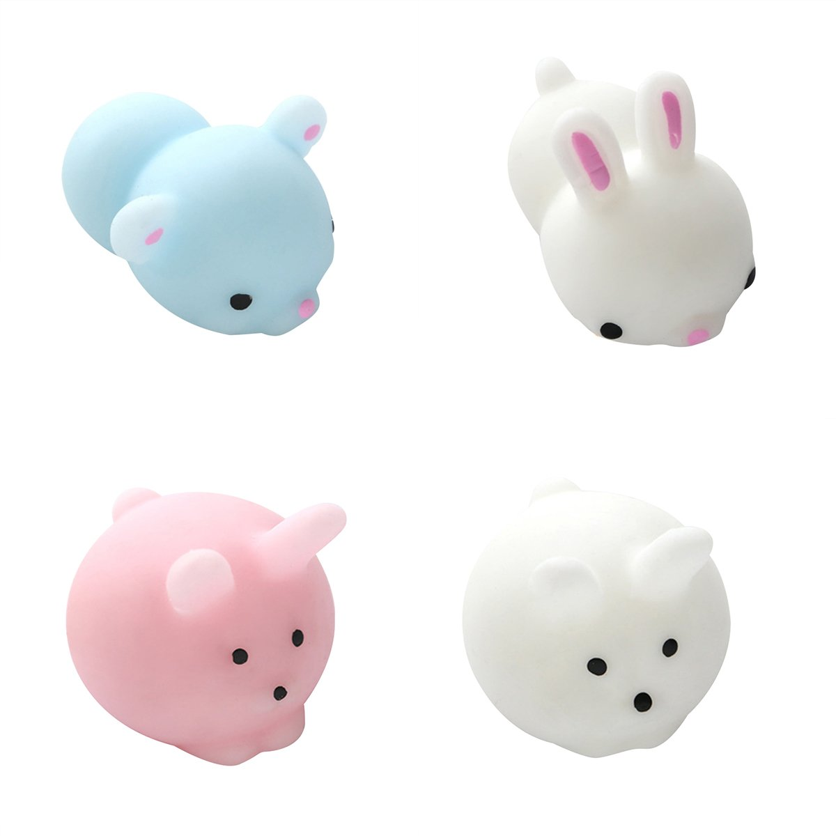 TOYMYTOY Pack de 4 Squeeze Toy Mini lindo conejo Bear animales lentos Rising Stress Relief Juguetes