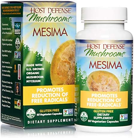 Host Defense, Mesima Capsules, Helps Reduce Free Radicals and Supports Immune Health, Mushroom Supplement, Vegan, Organic, 60 Capsules 30 Servings