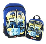 Lego Police City 16 Backpack Insulated Lunch Box Combo Mesh Pockets Reflective Strips Two Zip Pockets