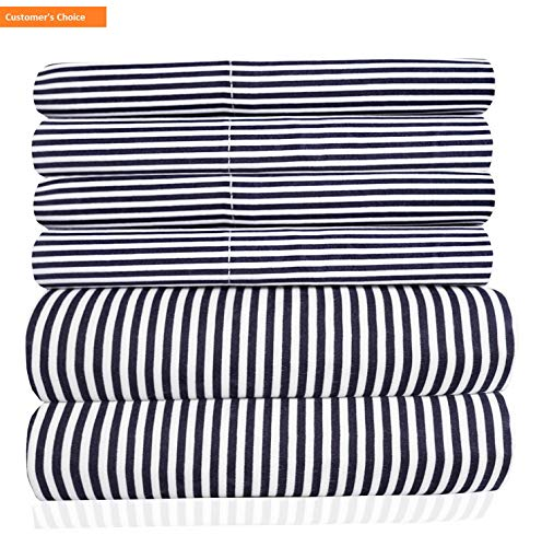 Mikash King Size Bed Sheets - 6 Piece 1500 Thread Count Fine Brushed Microfiber Deep Pocket King Sheet Set Bedding - 2 Extra Pillow Cases, Great Value, King, Classic Stripe Navy | Style 84596787