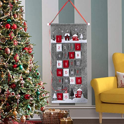 [해외]EDLDECCO 2019 Advent Calendar for Christmas Fabric 25 Days Countdown to Xmas Cloth Home Wall Hanging Holiday Decorations Ornaments (Grey) / EDLDECCO 2019 Advent Calendar for Christmas Fabric 25 Days Countdown to Xmas Cloth Home Wal...