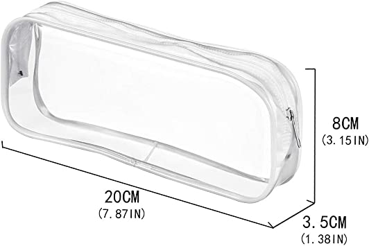 Bolonbi Lot de 4 trousses transparentes /à crayons grande capacit/é Noir trousse de toilette de voyage trousse de maquillage transparente avec fermeture /Éclair en PVC