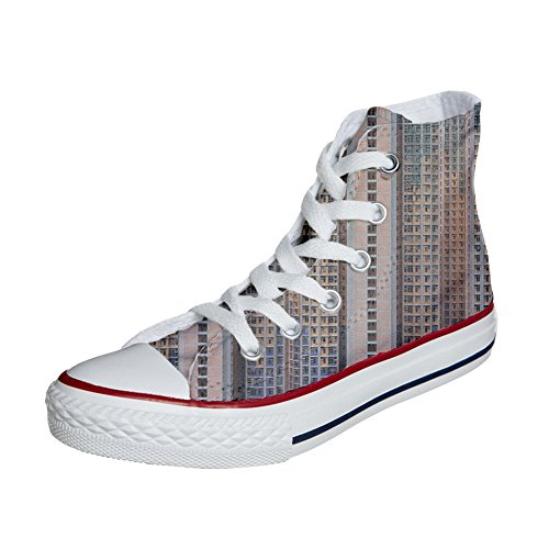 Converse All Star Hi Canvas, scarpe personalizzate (scarpe artigianali) Architecture Of Density