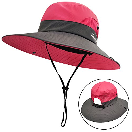 (LETHMIK Outdoor Sun Bucket Hat,Womens Adjustable Boonie Fishing Hat Packable with Ponytail Hole Pink )