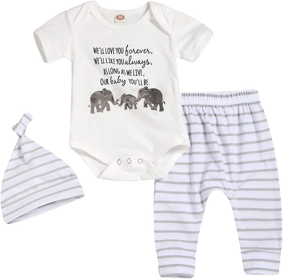 Newborn Boys Outfits Elephant Baby Romper Top+ Stripe Pants +Hat Bodysuit Summer Sets
