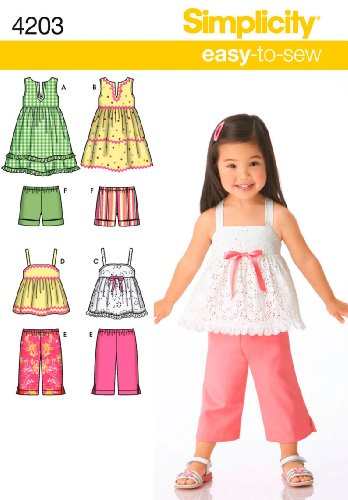 Simplicity Sewing Pattern 4203 Toddler Separates, A (1/2-1-2-3-4) (Seersucker Stripe Cropped Pant)