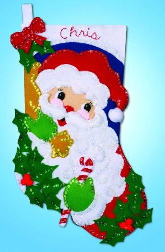 Holly Santa Stocking Felt Applique Kit-16 Long