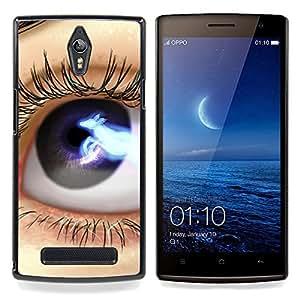 Eason Shop / Premium SLIM PC / Aliminium Casa Carcasa Funda Case Bandera Cover - Ojos: Azul Negro Lashes Espacio Close Up - For OPPO Find 7 X9077 X9007