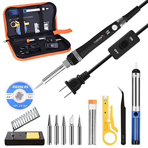 Tabiger Soldering Iron kit with Adjustable Temp 200-450째 and ON/OFF Switch , 60W Welding tool with 5 Soldering tips, Desoldering Pump, Solder Wick, Solder wire, Wire Stripper Cutter, Stand, Tool Case