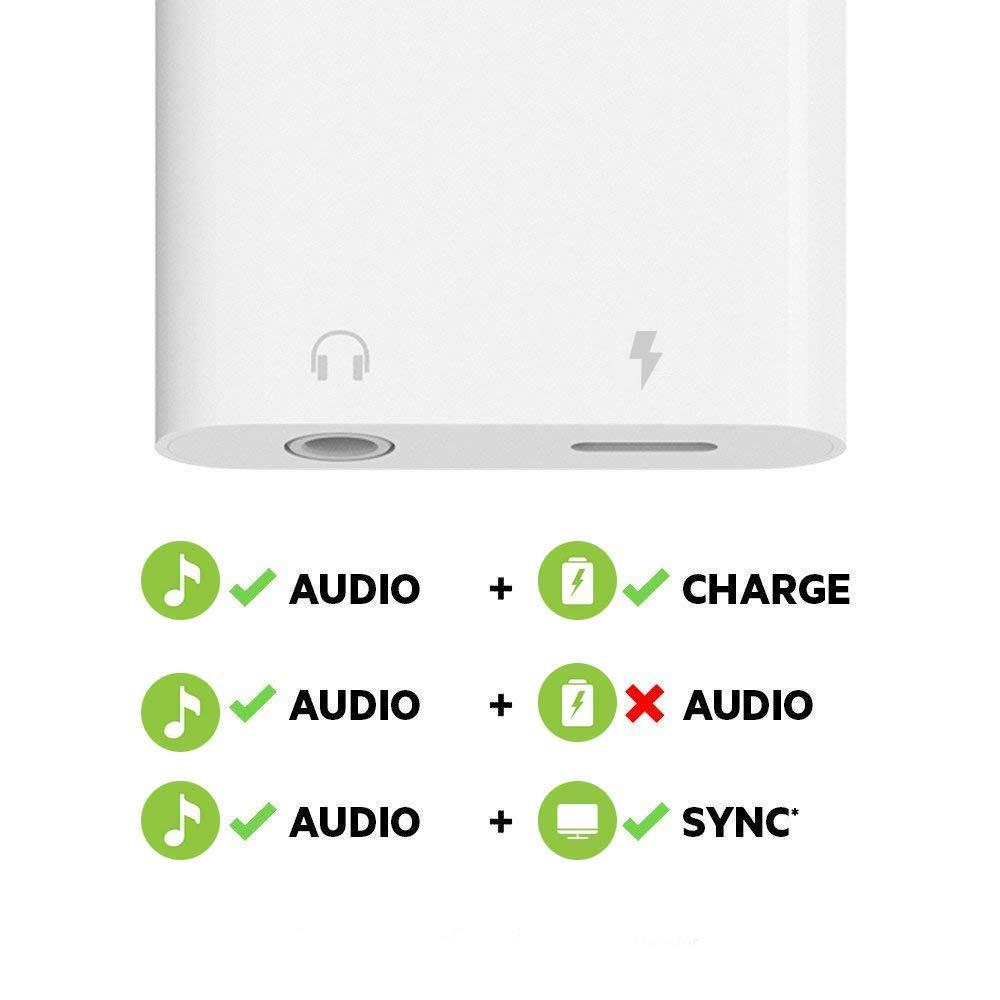 zerkar Adattatore Phone Cuffie Ricarica Adattatore Cuffie per Phone Adattatore Jack Audio+Ricarica+Contesta la llamada Compatibile con Phone Xs Max//XR//X//8//7//6//Pad//Pod Nero