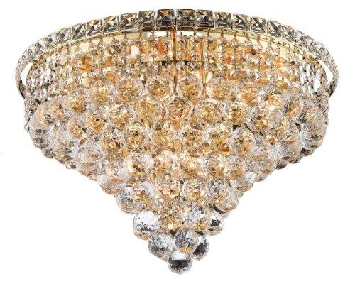 Elegant Lighting 2527F20G/SA Tranquil Collection 10-Light Flush Mount Swarovski Spectra Crystal with Gold Finish