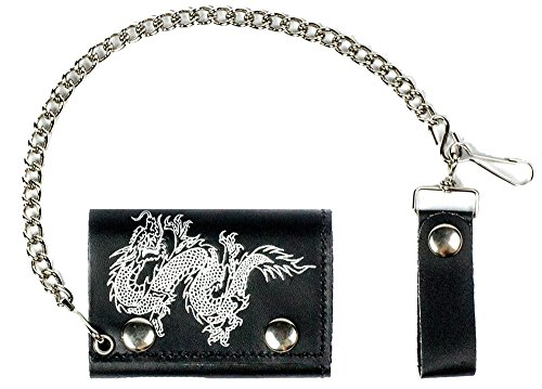 CHINESE DRAGON Mens Biker Leather Tri-fold Wallet with Chain