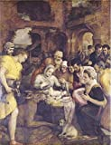 Oil Painting 'Adoration Of The Shepherds By Frans Floris I,1568' Printing On High Quality Polyster Canvas , 12x16 Inch / 30x40 Cm ,the Best Study Decoration And Home Gallery Art And Gifts Is This Reproductions Art Decorative Canvas Prints