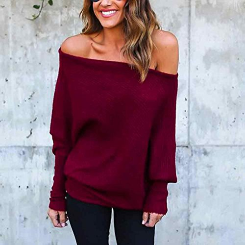 paules OverDose Loose Bardot Blouse Longues Femme Manches Shirt dnudes Rouge Casual Confort Sweat Top TUxFwqUrE