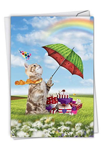 Fruit Cat: Birthday Greeting Card Featuring Umbrella Wielding Pretty Kitties, with Envelope. C6323ABDG ()