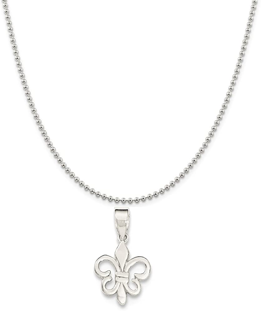 Sterling Silver Polished Fleur De Lis Pendant on a Sterling Silver Cable Snake or Ball Chain Necklace