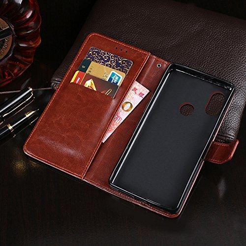 COQUE Caja del teléfono de Xiaom Note 5 Pro, billetera del tirón del cuero de imitación del estilo del libro con la caja de la ranura para tarjeta para Xiaom Note 5 Pro(Negro) Marrón